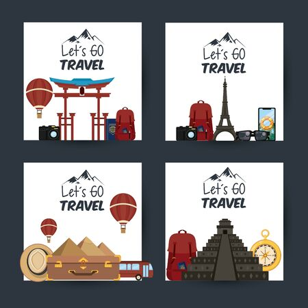 set of travel journey and tourism places with hot air balloon, panama hat, tikal temple and egyptian pyramid with lets go travel sign icon cartoon vector illustration graphic design