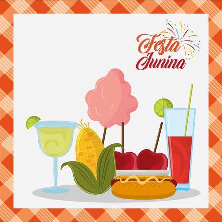 festa junina brazil invitation card concept with elements cartoon vector illustration graphic design Stock fotó - 130682419