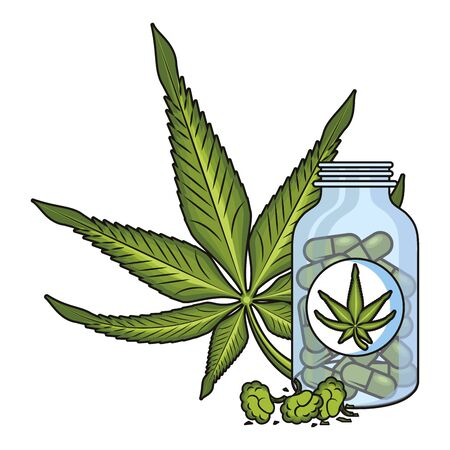 cannabis martihuana medical marijuana medicine sativa hemp buds and pills bottle cartoon vector illustration graphic design