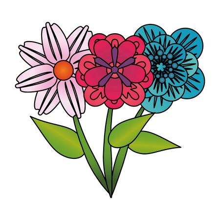 flowers tropical spring floral cartoon vector illustration graphic design