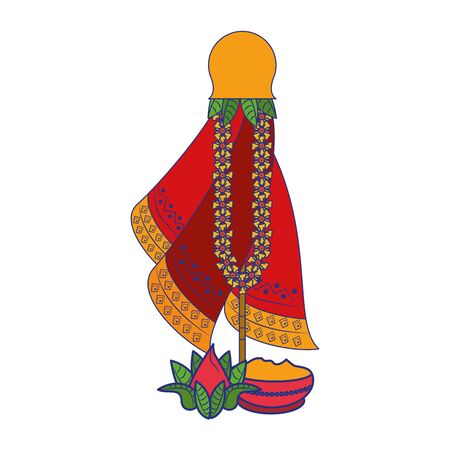Ugadi festival offering flowers pot cartoons vector illustration graphic design