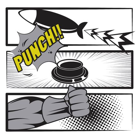 Comic book story with speech bubble, superhero punch button and missile bomb ,vector illustration.
