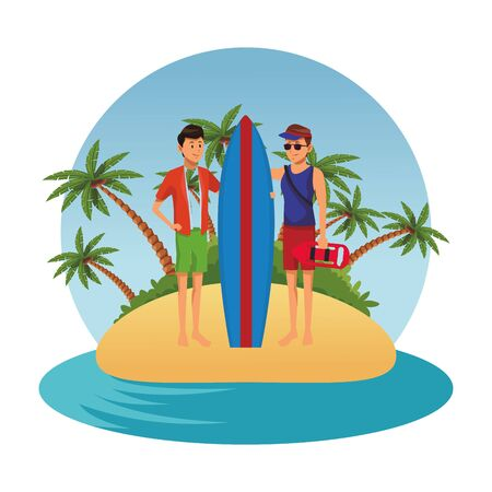 Men Friends enjoying summer with surf table in the beach scenery round frame vector illustration graphic design