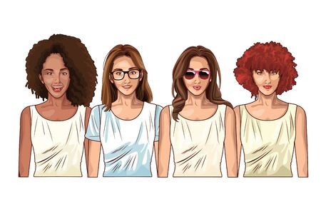 Pop art beautiful women smiling with casual clothes and glasses ,vector illustration graphic design.