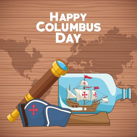 colombus columbus day card with antique navigation tools cartoons, america discovery celebration, travel and history. vector illustration graphic design