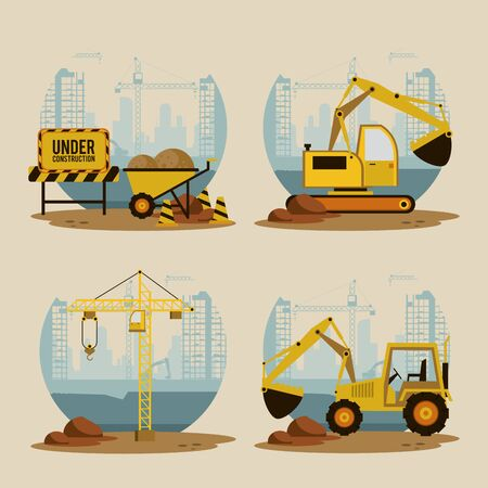 Set of under construction icons, workers and machinery, buildings and hard work. vector illustration graphic design