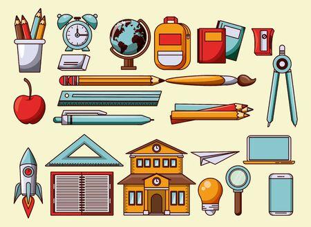 School utensils and cartoons symbols collection vector illustration graphic design