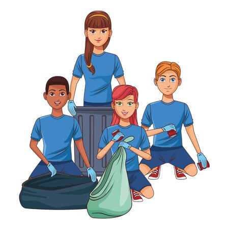 cleaning service person woman with a can and a garbage bag and woman with a dustpan and a garbage bag profile picture avatar cartoon Çizim