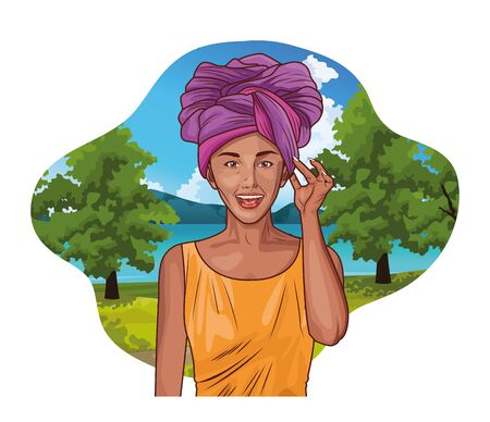 Pop art young afroamerican woman smiling with ethnic clothes in nature park scenery label frame ,vector illustration graphic design.