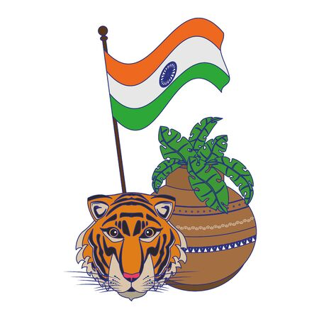 India independence day emblems tiger and flag with plant pot cartoons vector illustration graphic design