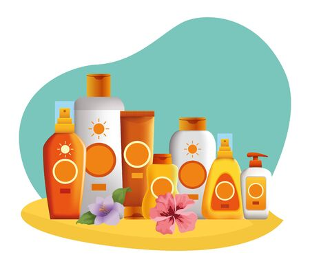 Sun bronzers collection with flowers, cosmetics products in the beach scenery background ,vector illustration graphic design.