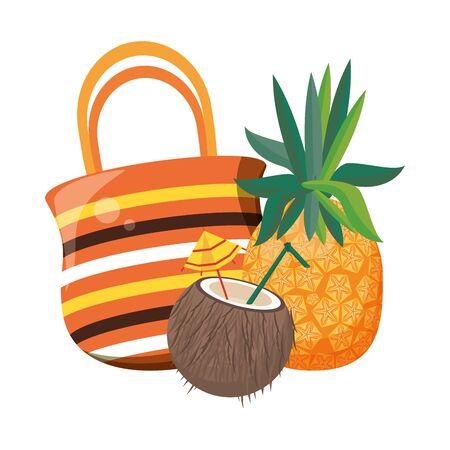 summer beach and vacation with pineapple, coconut beverage, beach bag icon cartoons vector illustration graphic design Vektoros illusztráció