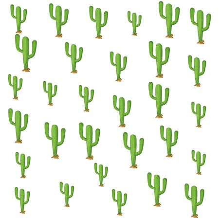 three cactus plant icon cartoon pattern wallpaper background vector illustration graphic design