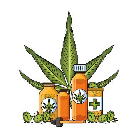 cannabis martihuana medical marijuana medicine sativa hemp oil, buds and pills bottles cartoon vector illustration graphic design