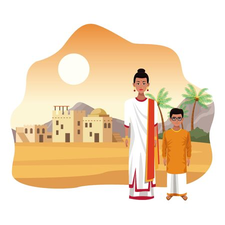 indian family ethnic of india wearing traditional hindu clothes in town at desert vector illustration graphic design