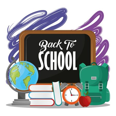Back to school season card with colorful blackboard and utensils cartoons vector illustration graphic design Çizim