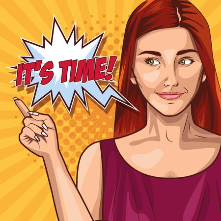 Pop art red hair woman on yellow background with speech bubble ,vector illustration. Çizim