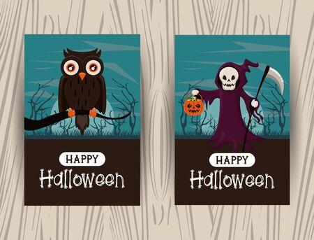 Set of Happy halloween season cards with cartoons collection on wooden background ,vector illustration graphic design.