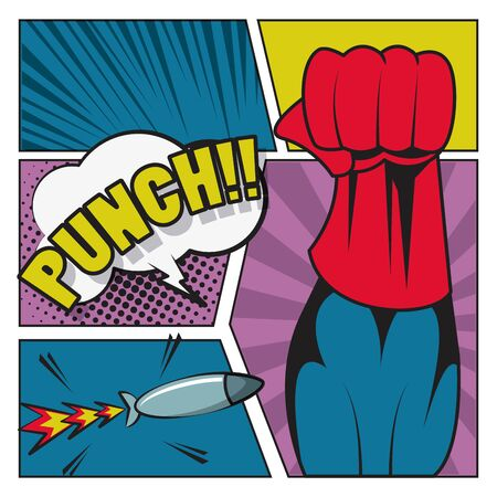 Comic book story with speech bubble, superhero punch and missile weapon ,vector illustration.