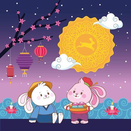mid autumn chinese festival happy rabbits couple with oriental lanterns and mooncake at night cartoon vector illustration graphic design Illusztráció