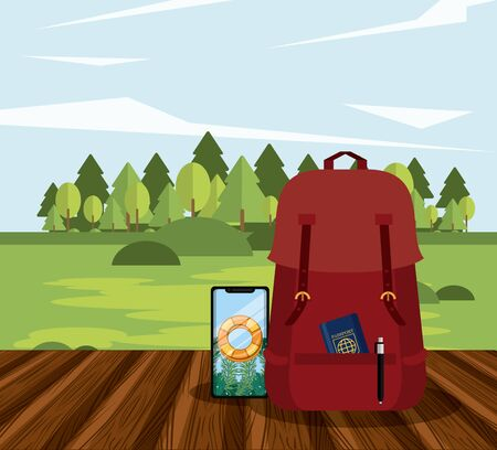 travel journey and tourism with passport inside a bag, smartphone with a bouysaver imagen over a wooden floor and a rural landscape vector illustration graphic design