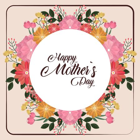 Happy mothers day card with flowers round frame round frame vector illustration graphic design Иллюстрация