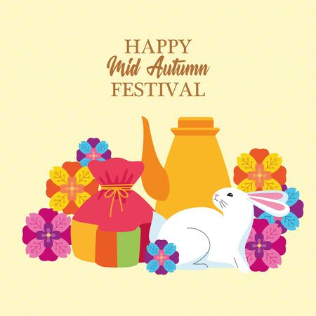 mid autumn chinese festival cute rabbit with oriental chinese translate card with celebration elements cartoon vector illustration graphic design Ilustração