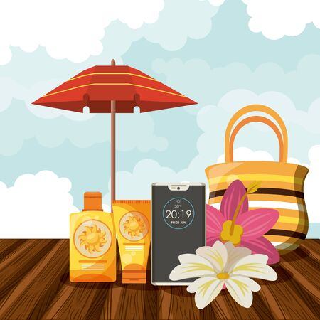 Summer vacations and beach cartoons bronzer bottle passport flowers and bags with umbrella vector illustration graphic design