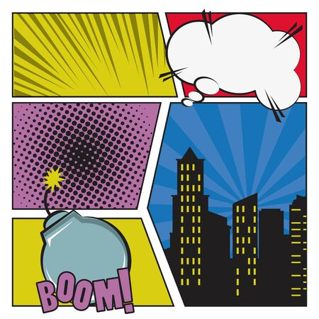 Comic story with bombs and explosions on frames, pop art cartoons. ,vector illustration. Ilustração