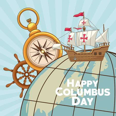 colombus columbus day card with antique navigation tools cartoons, america discovery celebration, travel and history. vector illustration graphic design Çizim