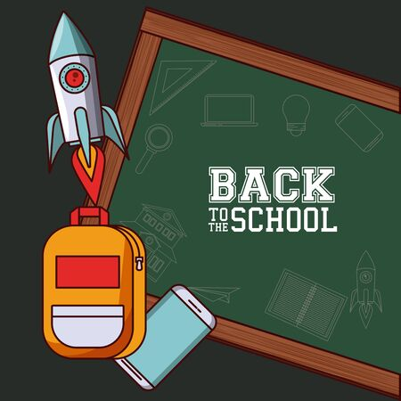 Back to school season card and poster, school utensils and supplies cartoons. vector illustration graphic design 矢量图像