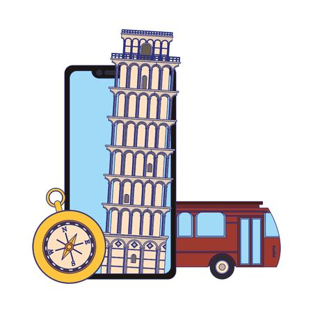Travel vacations pisa tower on smartphone with bus and navigation compass cartoons