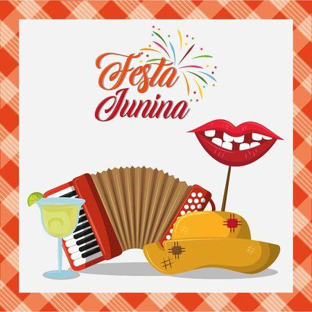 festa junina brazil invitation card concept with elements cartoon vector illustration graphic design Stock fotó - 130683543