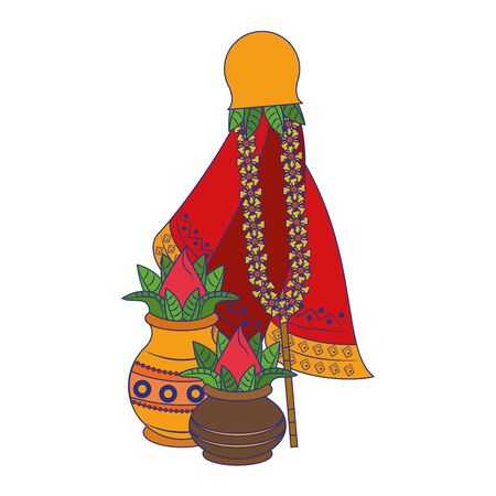 Ugadi festival offering flowers pots cartoons vector illustration graphic design Ilustração