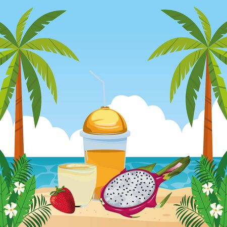 tropical fruit and smoothie drink with pitahaya and strawberry icon cartoon over the beach with seascape vector illustration graphic design Stok Fotoğraf - 130683731