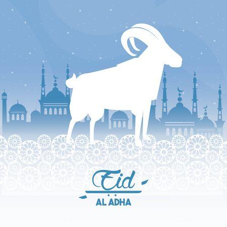 eid al adha fête du sacrifice ram et bâtiment islamique silhouette icône cartoon vector illustration graphic design