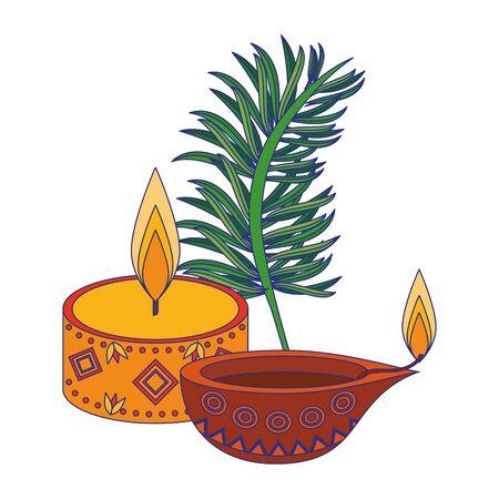 Ugadi indian celebration emblems candles and leaf cartoons vector illustration graphic design Vectores
