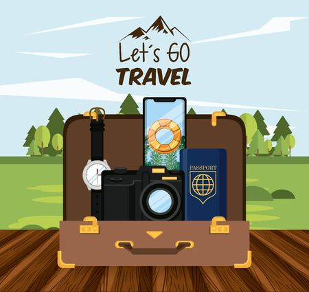 travel journey and tourism with passport, smartphone with a bouysaver imagen, photographic camera, wristwatch into a briefcase over a wooden floor and a rural landscape and lets go travel sign vector illustration graphic design Stock Illustratie