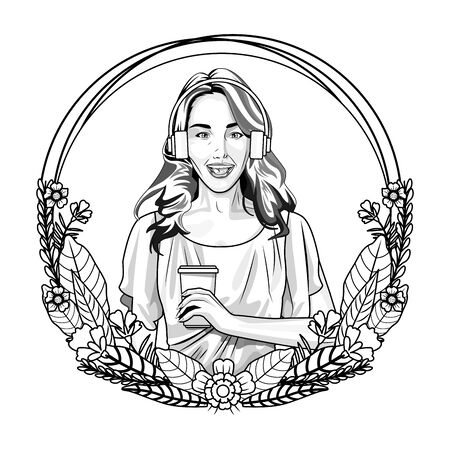 Pop art beautiful woman holding coffee cup on round emblem with floral wreath cartoon ,vector illustration graphic design.