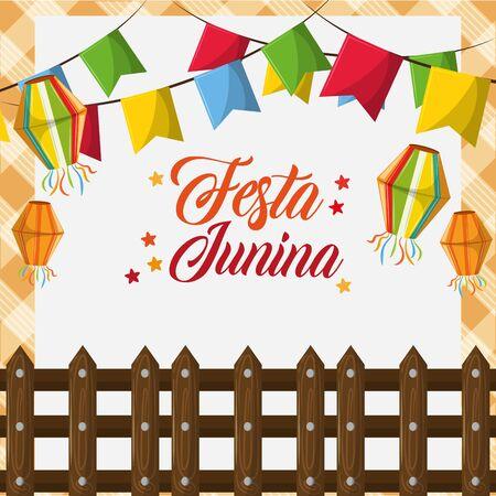 festa junina brazil invitation card concept with elements cartoon vector illustration graphic design
