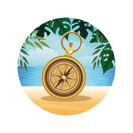 Beach with navigation compass round icon cartoon vector illustration graphic design Çizim