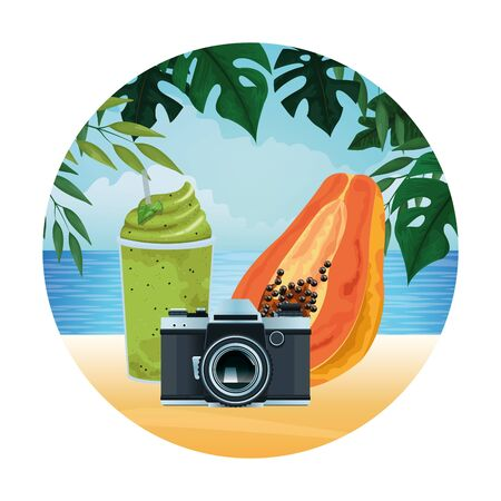 summer beach and vacation with photographic camera and smoothie drink icon cartoon in round icon over the beach with seascape vector illustration graphic design Stock Illustratie