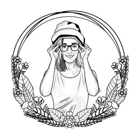 Pop art beautiful and fashion woman on round emblem with floral wreath cartoon ,vector illustration graphic design.