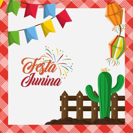 festa junina brazil invitation card concept with elements cartoon vector illustration graphic design Stock fotó - 130684170
