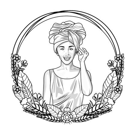 Pop art beautiful woman on round emblem with floral wreath cartoon ,vector illustration graphic design.