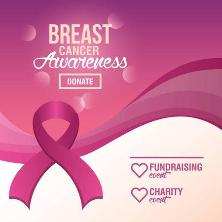 Breast Cancer Awareness Fundraise donation design, vector illustration Vettoriali