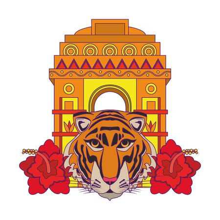 indian building monuments with gateway of india, bengal tiger and lotus flower icon cartoon vector illustration graphic design Ilustrace