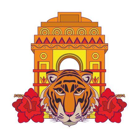 indische bouwmonumenten met gateway van india, bengaalse tijger en lotusbloempictogram cartoon vectorillustratie grafisch ontwerp Vector Illustratie