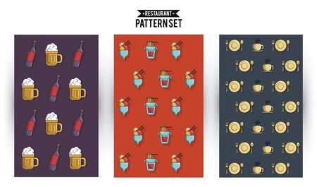 Restaurant pattern set with drinks food and utensils vector illustration graphic design