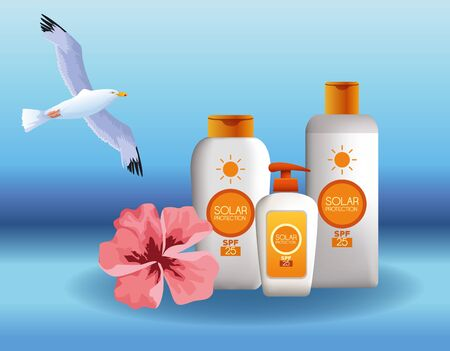 Solar protection bottles products for summer with bird flying and flower on blue background vector illustration graphic design